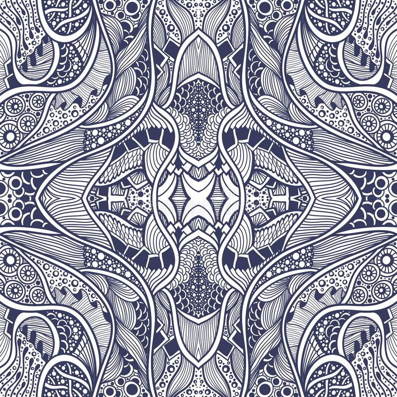 Abstract Zen Tangle Zen Doodle Pattern In Marine Style Blue Stock