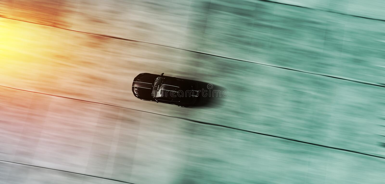 Sports car racing in motion blur – abstract background - top a royalty free stock photos