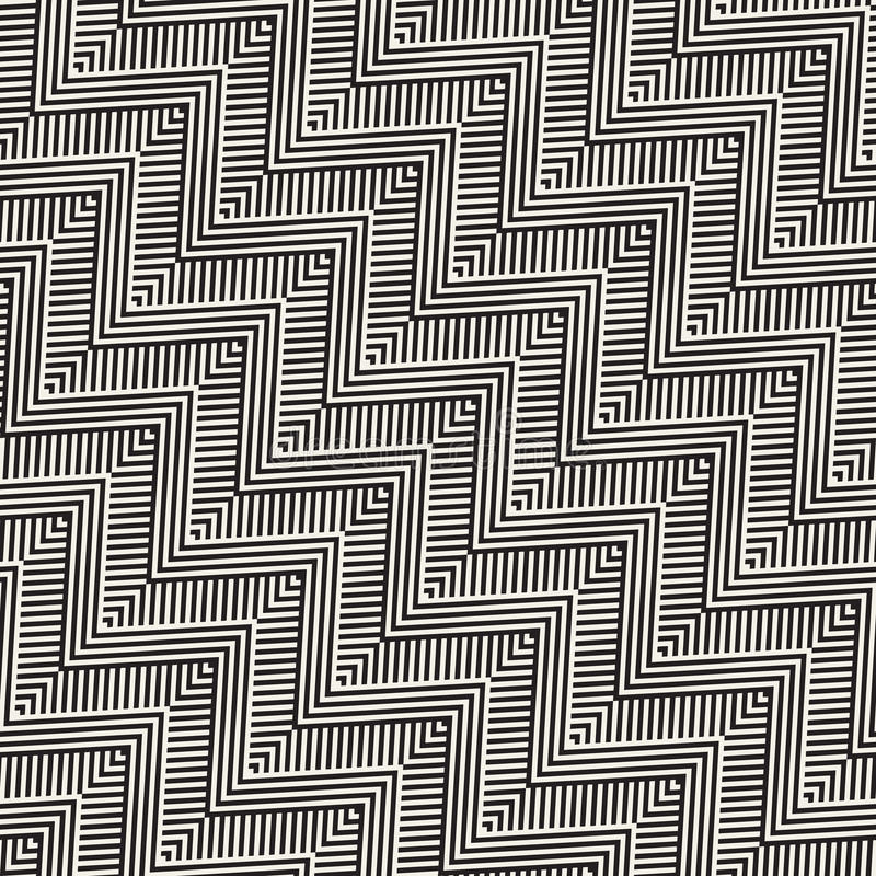 Abstract ZigZag Parallel Stripes. Stylish Ethnic Ornament. Vector Seamless Pattern. vector illustration