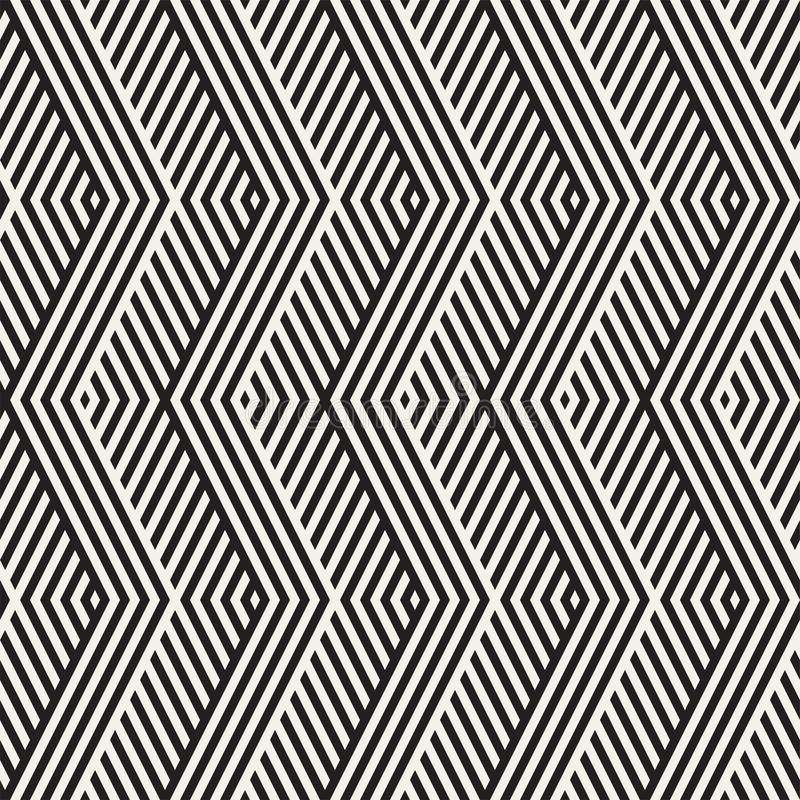 Abstract ZigZag Parallel Stripes. Stylish Ethnic Ornament. Vector Seamless Pattern. Repeating Monochrome Background vector illustration