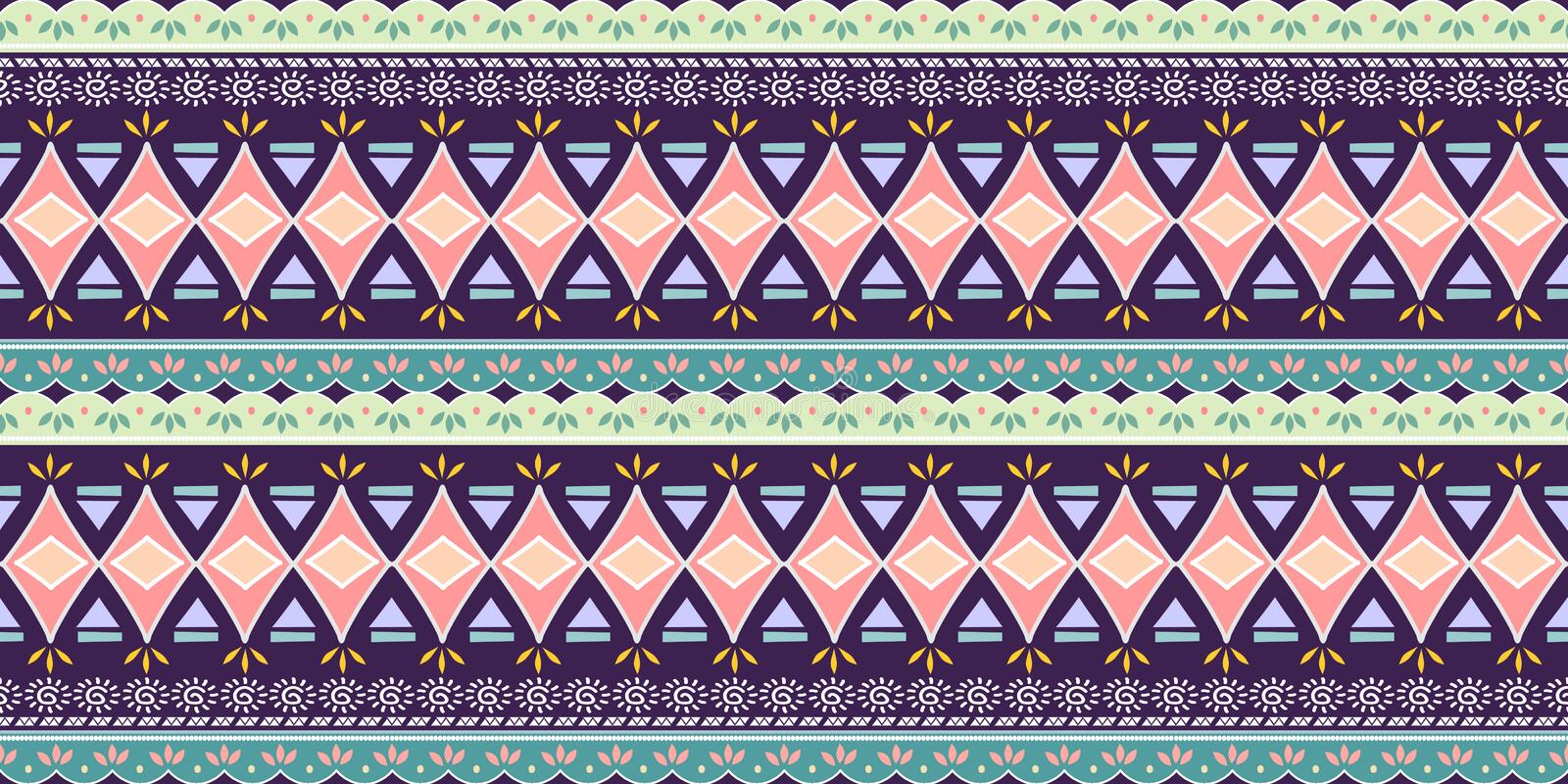 Abstract zigzag pattern for cover design. Retro african vector background. Geometric decorative seamless royalty free illustration