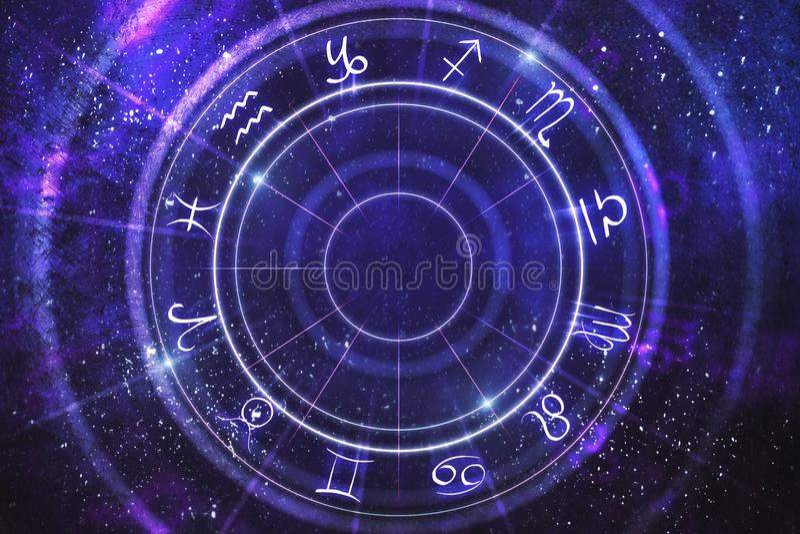Abstract zodiac wheel backdrop. Abstract purple zodiac wheel backdrop. Cyberspace concept. 3D Rendering royalty free illustration
