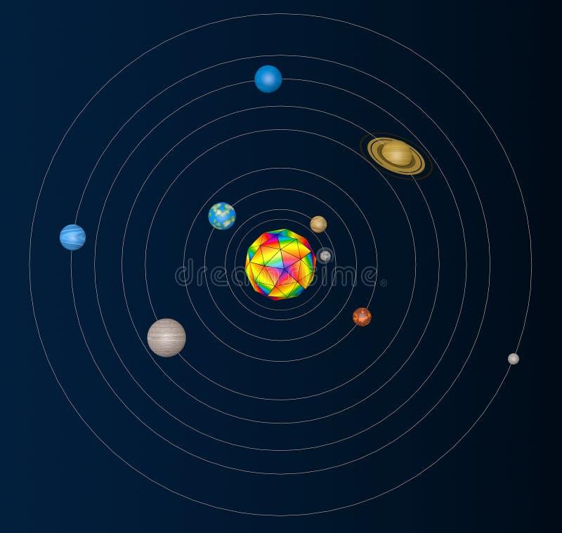 Abstract Zonnestelsel met Planeten het 3d teruggeven vector illustratie