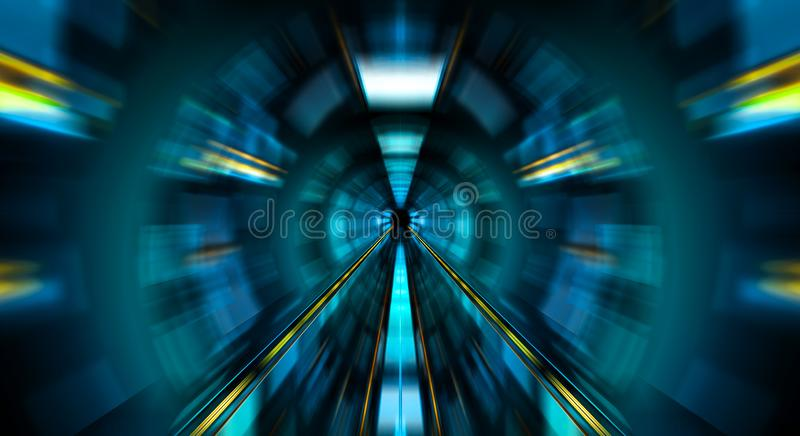 Abstract zoom effect in a blue dark tunnel background with traffic lights royalty free illustration