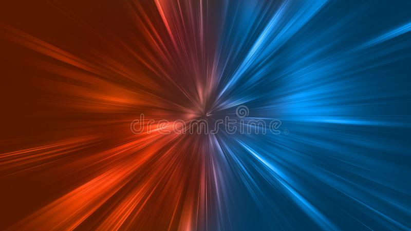 Abstract zoom lights with color of Fire and Ice element against vs each other background. Heat and Cold concept.  royalty free illustration