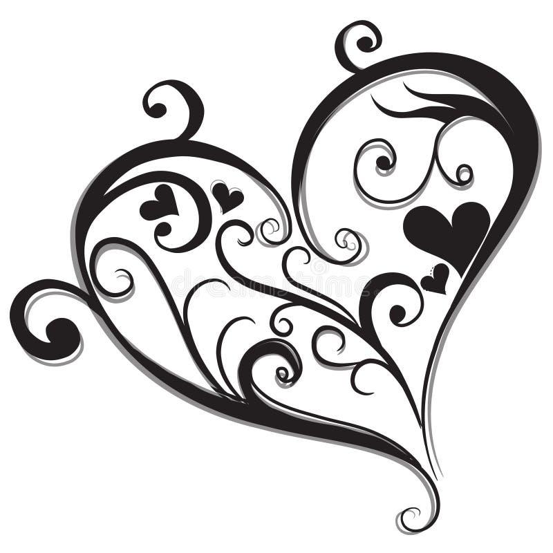 Abstract Zwart hart royalty-vrije illustratie