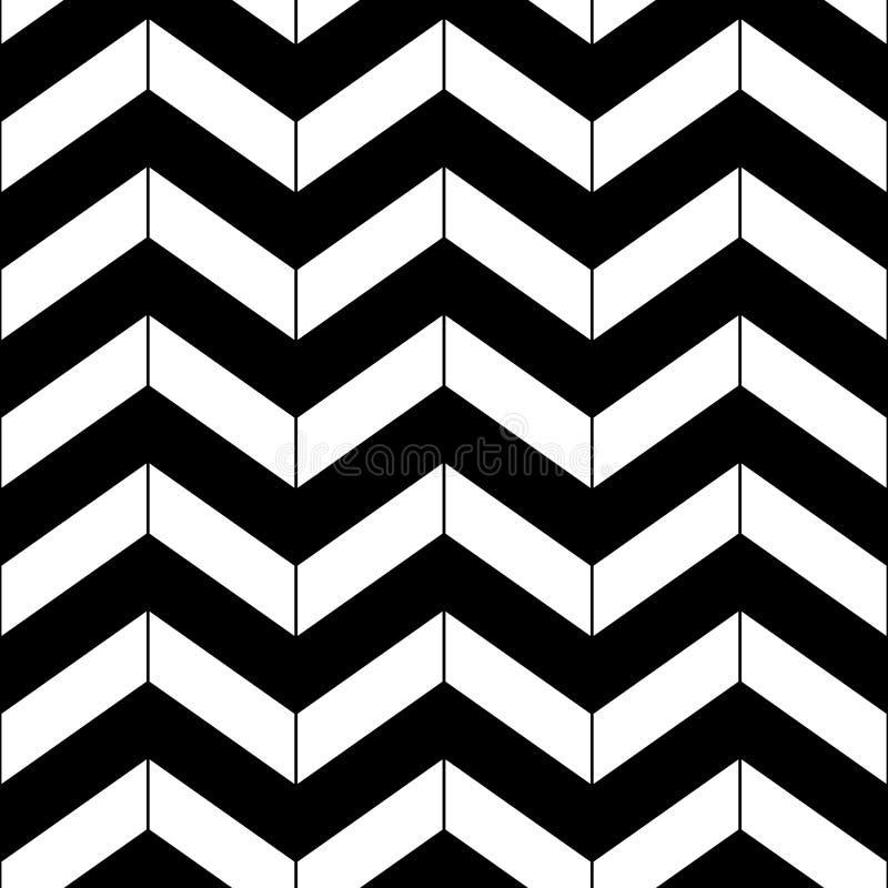 Abstract zwart-wit geometrisch chevron naadloos patroon, vector stock illustratie