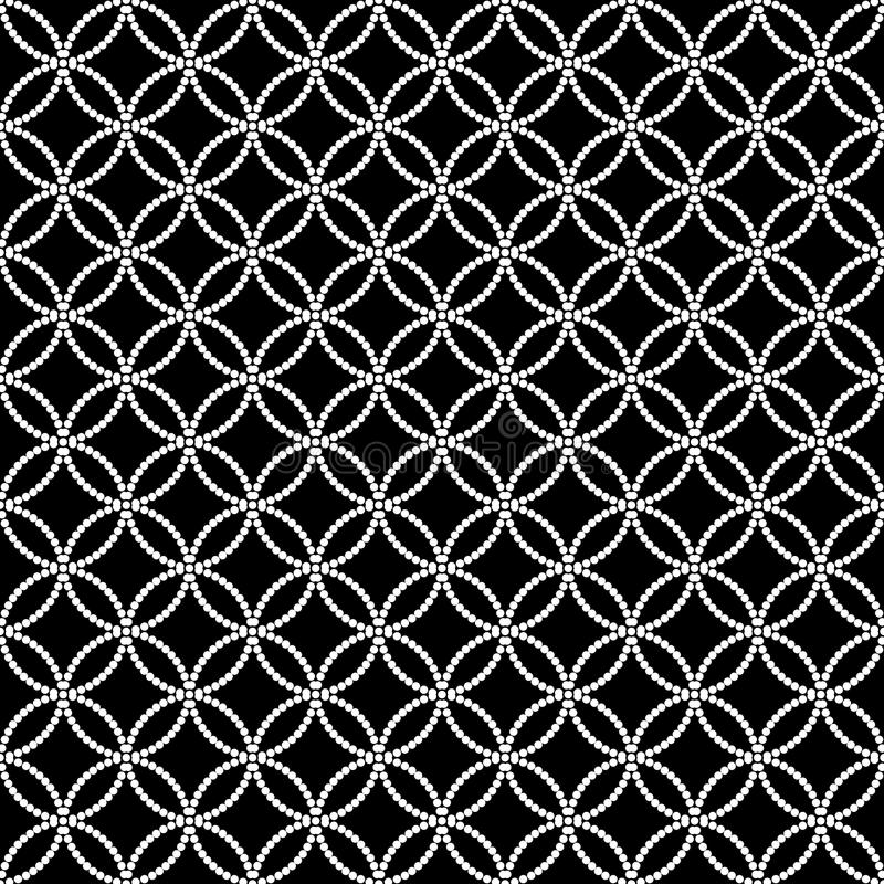 Abstract zwart-wit naadloos patroon in Aziatische stijl met overlappende gestippelde cirkels vector illustratie