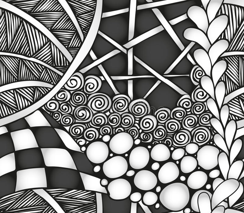 Abstract zwart-wit zentangle naadloos patroon royalty-vrije stock afbeeldingen