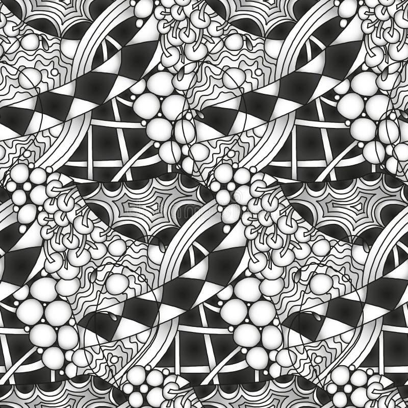 Abstract zwart-wit zentangle naadloos patroon royalty-vrije illustratie