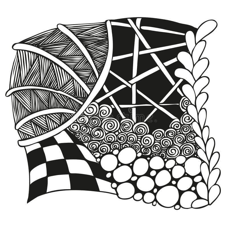 Abstract zwart-wit zentangleornament royalty-vrije stock foto