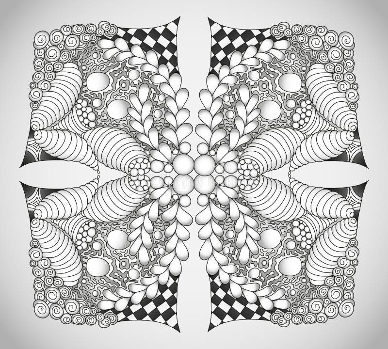 Abstract zwart-wit zentangleornament royalty-vrije stock fotografie