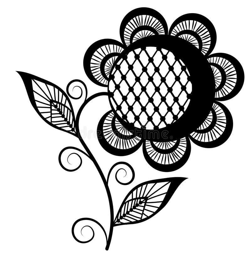 Abstract zwart-wit zonnebloemembleem. Geïsoleerde op wit vector illustratie