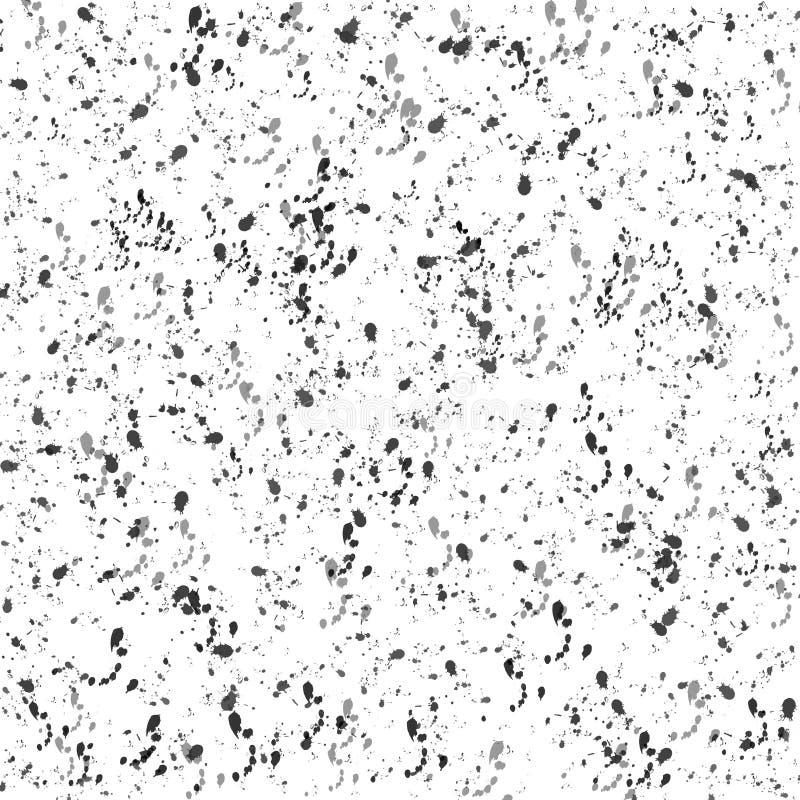 Abstract Zwarte en Grey Grunge Splashes Texture op Witte Achtergrond stock illustratie