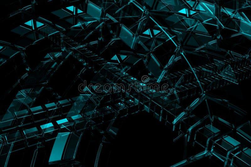 Abstracte 3D blauwe achtergrond royalty-vrije illustratie