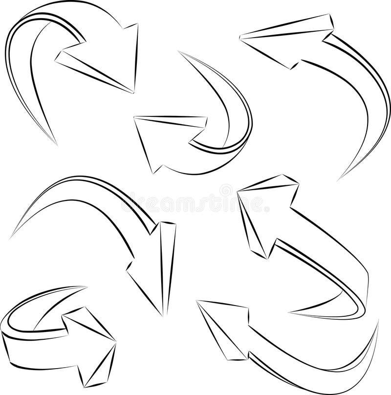 Abstracte 3D schetsmatige schetsmatige pijlen. reeks royalty-vrije illustratie