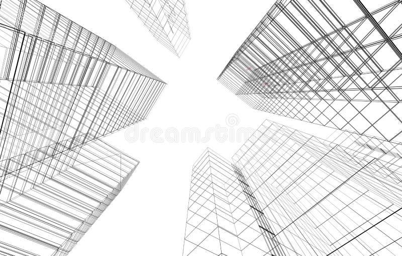Abstracte 3D stad stock illustratie