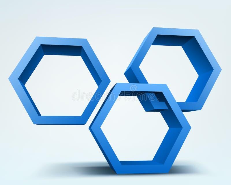 Abstracte 3d zeshoeken stock foto's