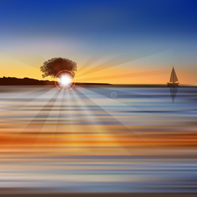 Abstracte aardachtergrond met overzeese zonsopgang