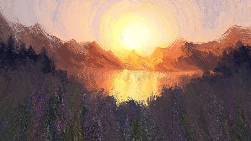 Abstracte aardachtergrond met zonsondergang royalty-vrije illustratie