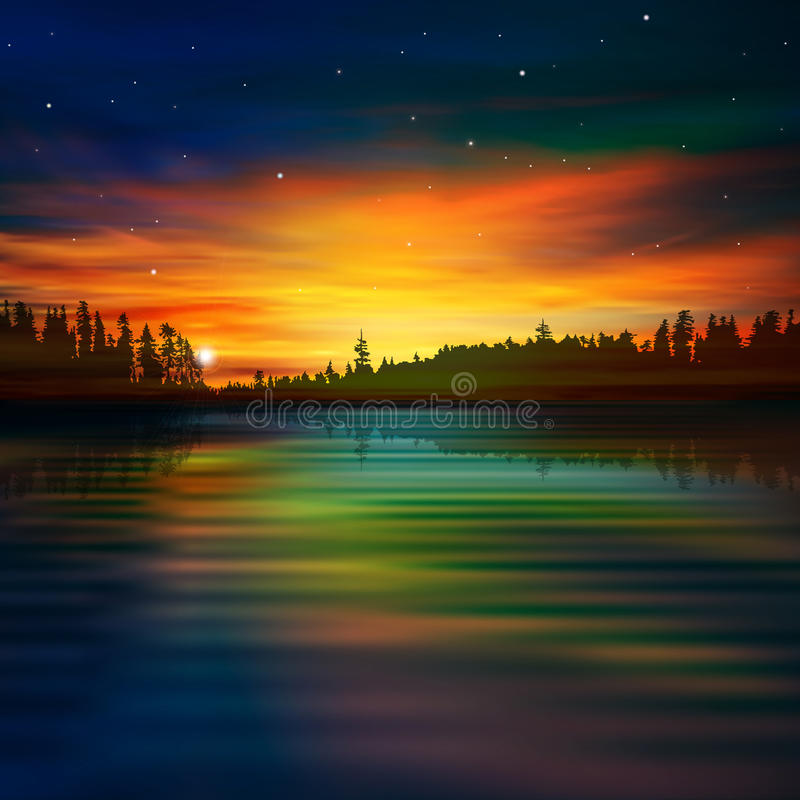 Abstracte aardachtergrond met zonsopgang vector illustratie