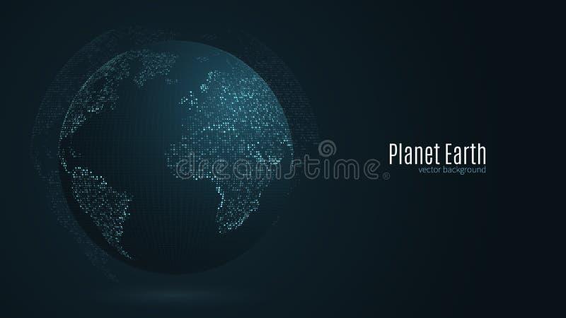 Abstracte aarde Blauwe kaart van de aarde van de vierkante punten Donkere achtergrond Blauwe gloed High-tech Het mondiale net ver vector illustratie
