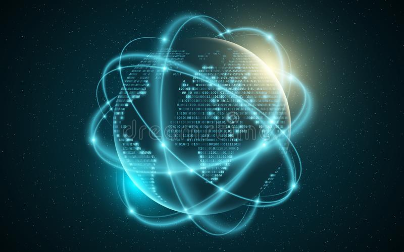 Abstracte aarde Wereldkaart van binaire code Gloeiend, onscherpe neonlijnen abstracte achtergrond Computer programmeringscode Glo vector illustratie