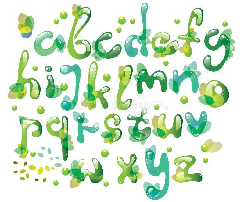 Abstracte ABC, groen alfabet met bladeren vector illustratie