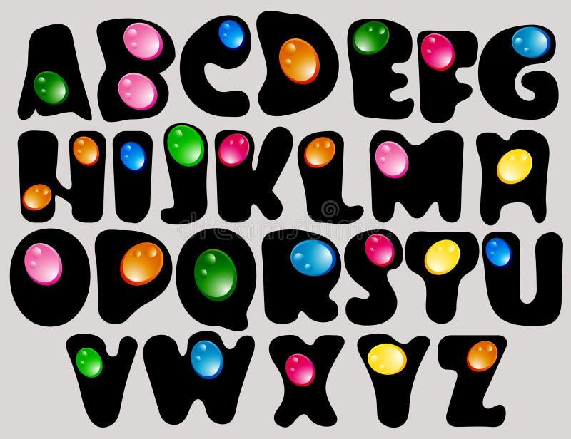 Abstracte ABC, zwart alfabet met kleurendalingen vector illustratie