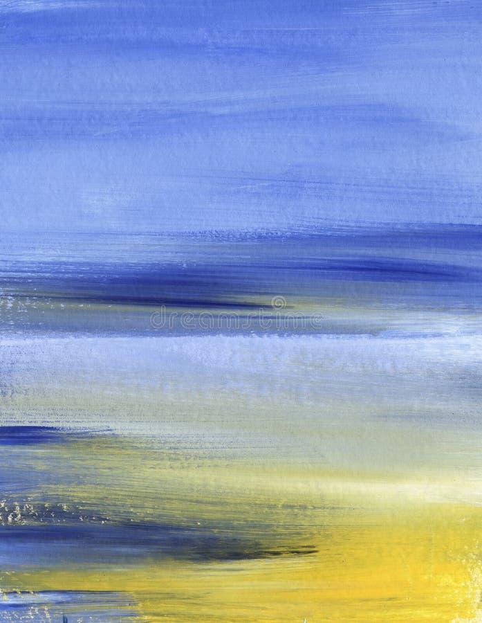 abstracte achtergrond Blauwe en gele hemel met wolken Textuur van een verf op document Hand getrokken illustratie stock foto