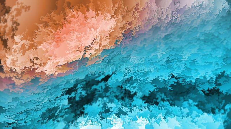 Abstracte achtergrond, blauwe en oranje lagen vlokken, hemel en aarde, imitatie van natuurlijke bergen of hol, warm-koud, royalty-vrije stock foto