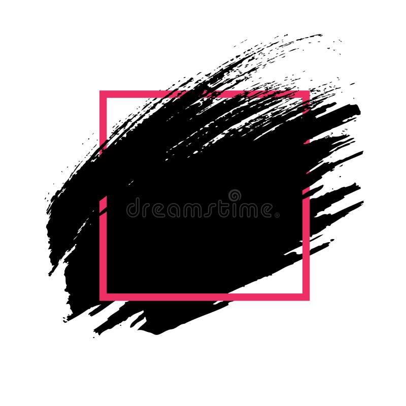 abstracte achtergrond De hand geschilderde slag van de inkt zwarte borstel royalty-vrije illustratie