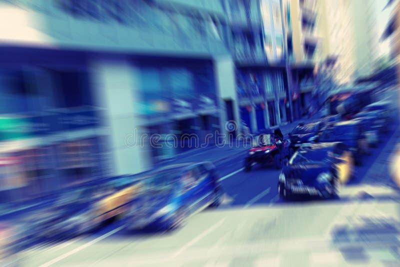 abstracte achtergrond De motie van het verkeersonduidelijke beeld in moderne stad - spitsuur in Barcelona, Spanje royalty-vrije stock foto
