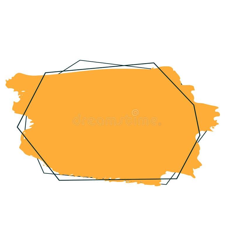 abstracte achtergrond De slagen van de inktborstel met ruwe randen Vector frame stock illustratie