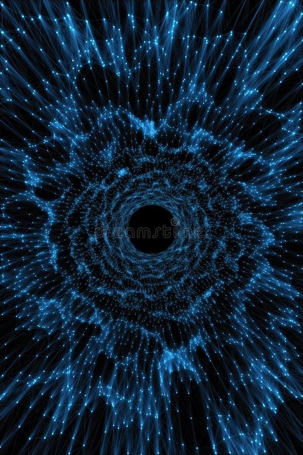 Abstracte achtergrond die tunnel van punten en lijnen imiteren royalty-vrije illustratie