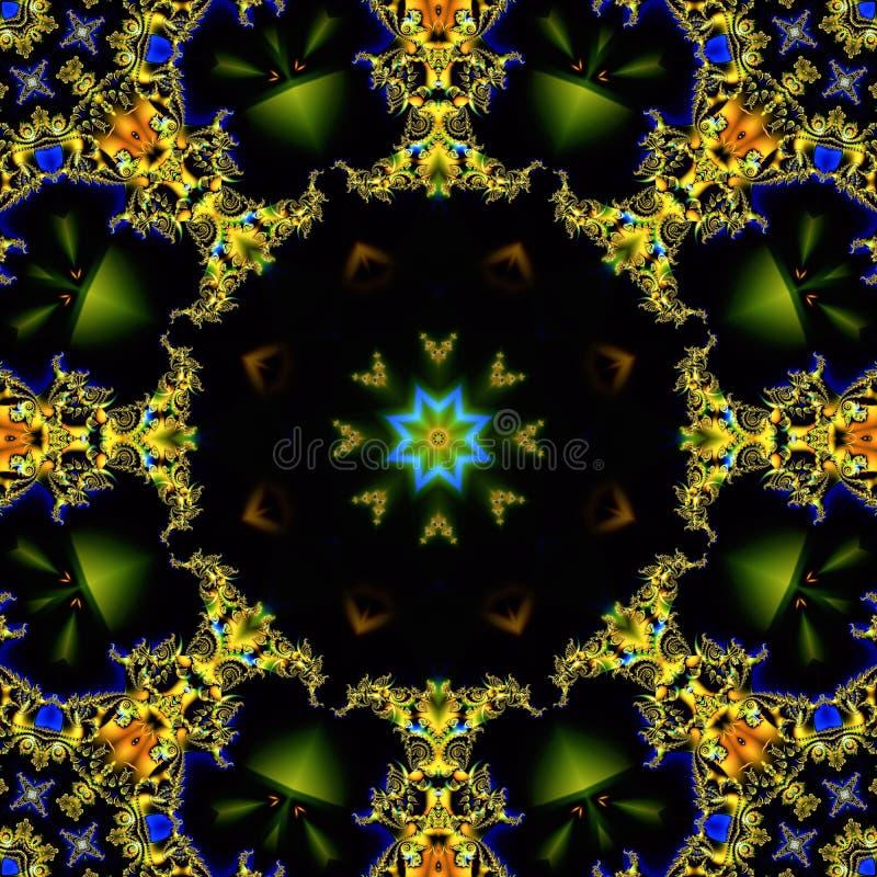 Abstracte achtergrond die uit een cirkelornament van fractal vormen en sterren in het centrum van de samenstelling op een bruine  vector illustratie