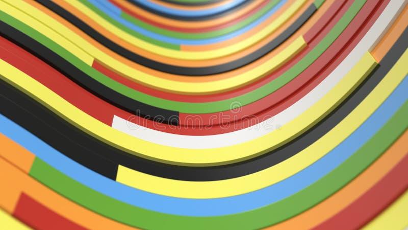 Abstracte achtergrond, golven van kleurrijke planken stock foto
