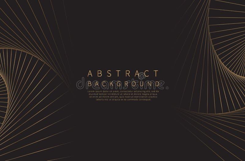 abstracte achtergrond Gouden lijngolf Luxestijl Vector illustratie royalty-vrije illustratie