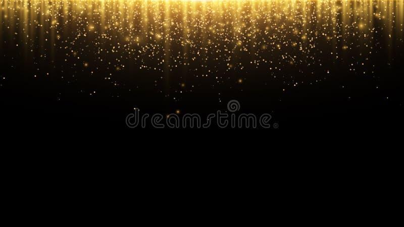 abstracte achtergrond Gouden stralen van licht met lichtgevende magische stofgloed in dark Vliegende deeltjes van licht Vector royalty-vrije illustratie