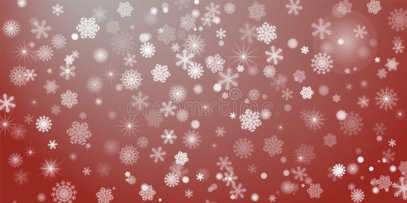abstracte achtergrond Heel wat verschillende glanzende sneeuwvlokken stock foto