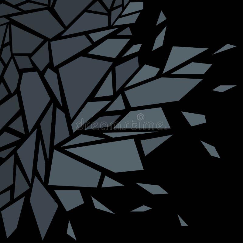 abstracte achtergrond Het effect van gebroken glas zwart royalty-vrije illustratie