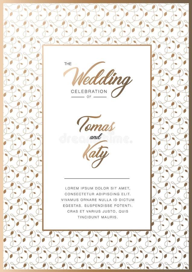 Abstracte achtergrond, huwelijksuitnodiging met gouden bloemenornament stock foto's