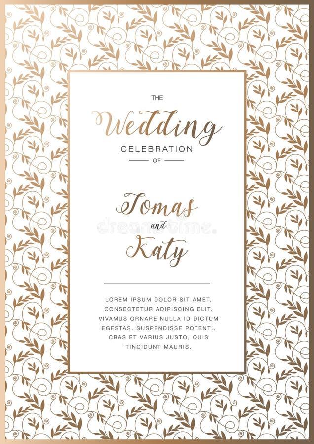 Abstracte achtergrond, huwelijksuitnodiging met gouden bloemenornament royalty-vrije stock foto's