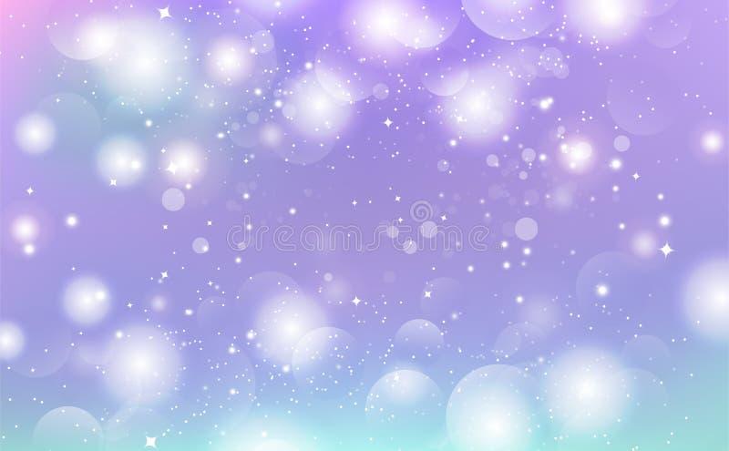 Abstracte achtergrond, magische fonkeling, sterren, melkweg, de purpere onscherpe vectorviering van de illustratie seizoengebonde royalty-vrije illustratie