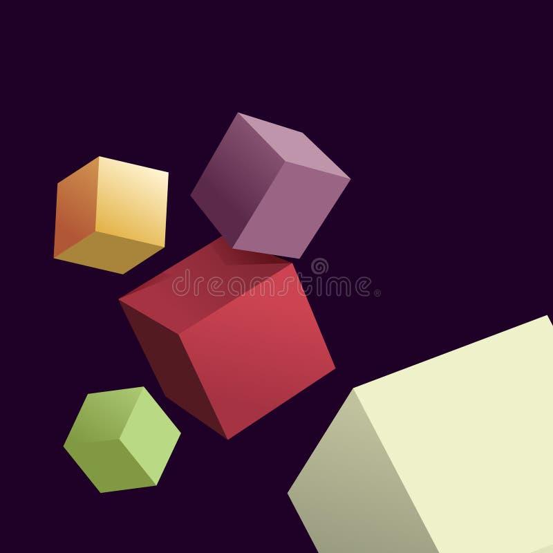 Abstracte achtergrond met 3d kubussen vector illustratie