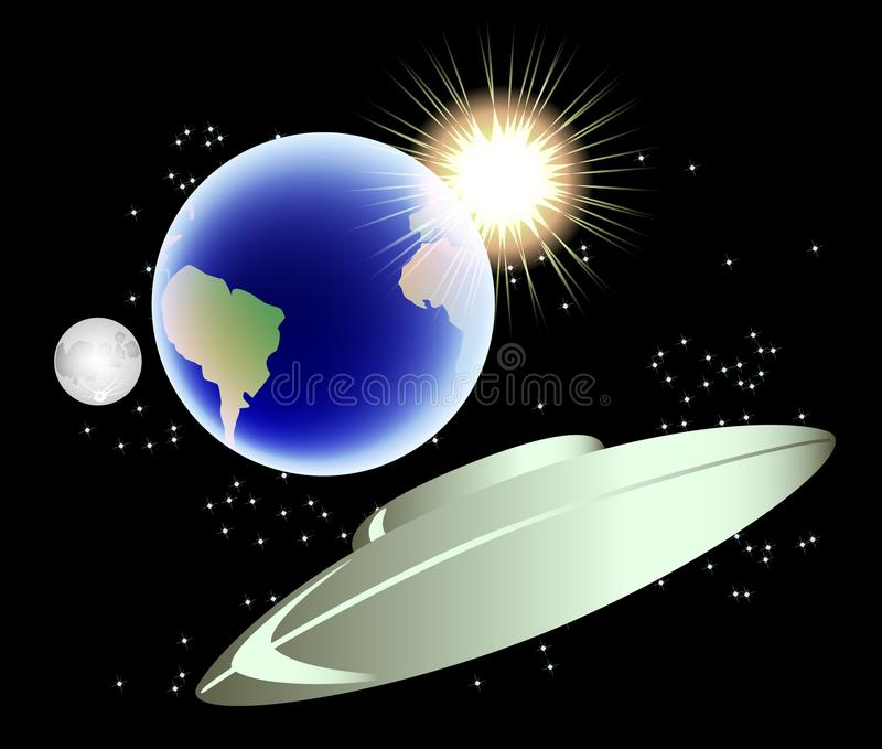 Abstracte achtergrond met aarde, maan en zon EPS10 vectorillustratie royalty-vrije illustratie
