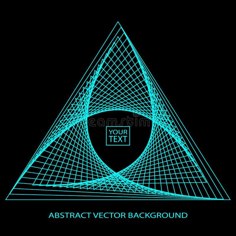 Abstracte achtergrond met blauwe driehoek op het etiket, driehoekig embleem op een donkere achtergrond eps10 royalty-vrije illustratie