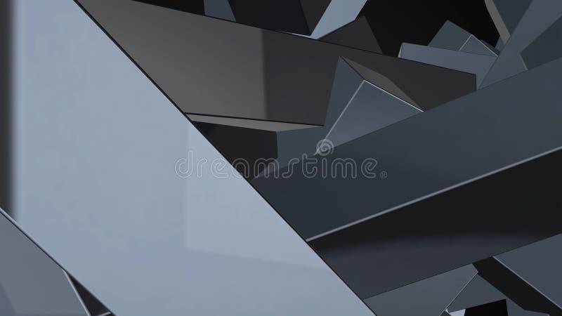 Abstracte achtergrond met chaotische elementen het 3d teruggeven royalty-vrije illustratie