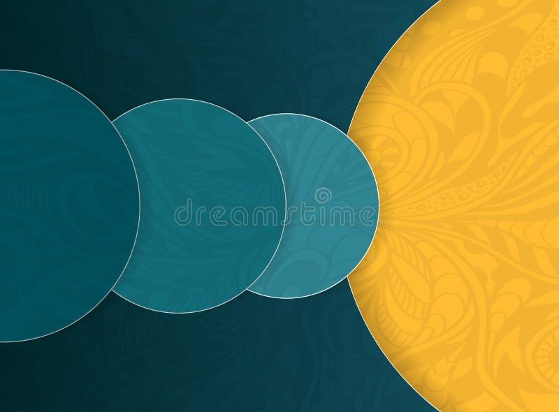 Abstracte achtergrond met cirkels en de beige oranje donkere marine van de krabbeltextuur voor malplaatje van vliegers of banners royalty-vrije illustratie