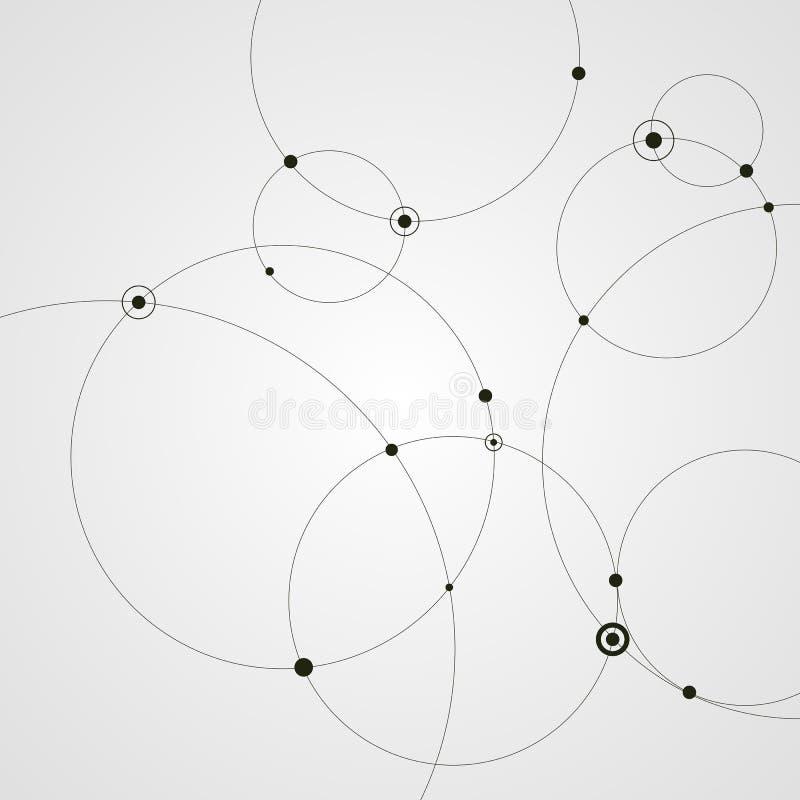 Abstracte achtergrond met cirkels en punten Het concept van de aansluting Vector illustratie royalty-vrije illustratie